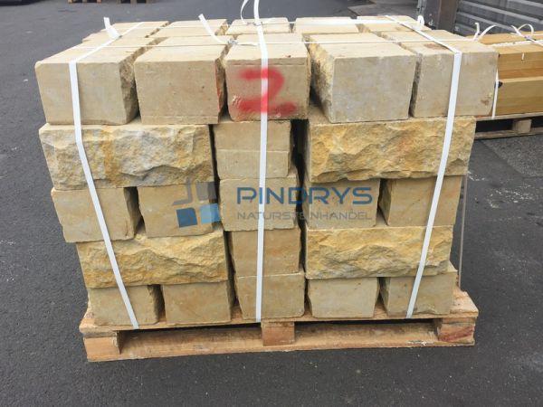 Sandstein Mauersteine 10x20x40 cm Lagerfugen gesägt, Trockenmauer aus Polen